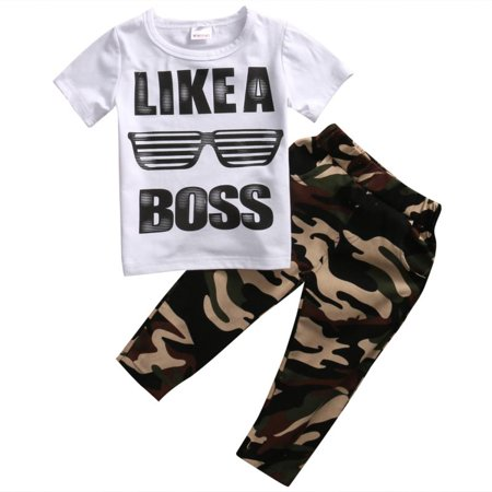 New Newborn Toddler Kids Baby Boys Outfits T-shirt Tops+Camouflage Pants 2pcs Clothes - Sasuke New Outfit