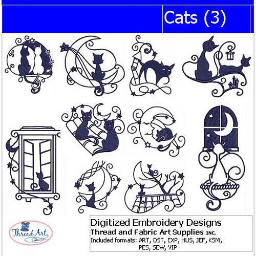 ThreadArt Machine Embroidery Designs Cats(3) CD