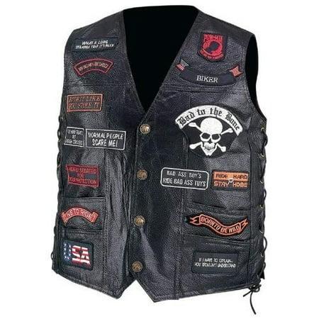 Patched Leather Vest (Diamond PlateTM Hand Sewn Pebble Grain Genuine Buffalo Leather Biker Vest with 23 Patches, Size X-Large)