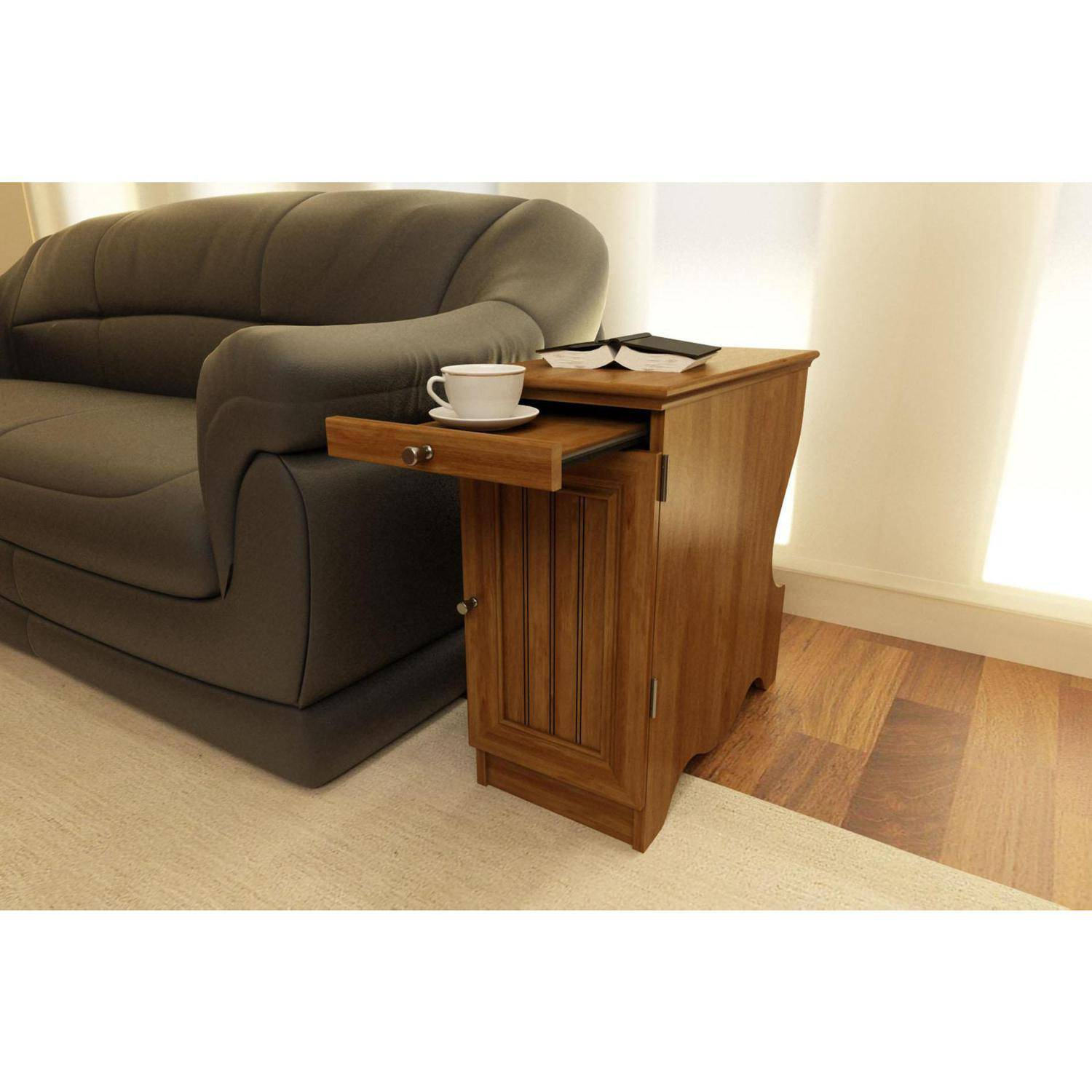 Ameriwood Home Fletcher Side Table With Magazine Storage, Medium Brown    Walmart.com