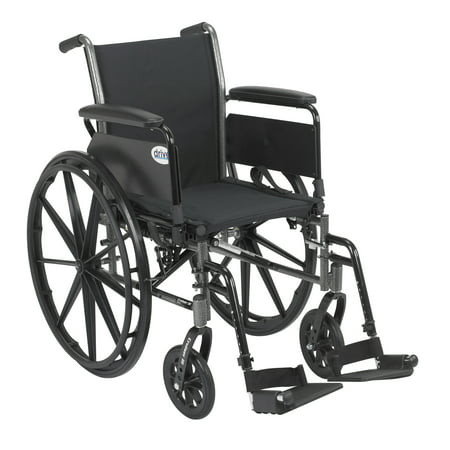 "Drive Medical Cruiser III Light Weight Wheelchair with Flip Back Removable Arms, Full Arms, Swing away Footrests, 20"" Seat"