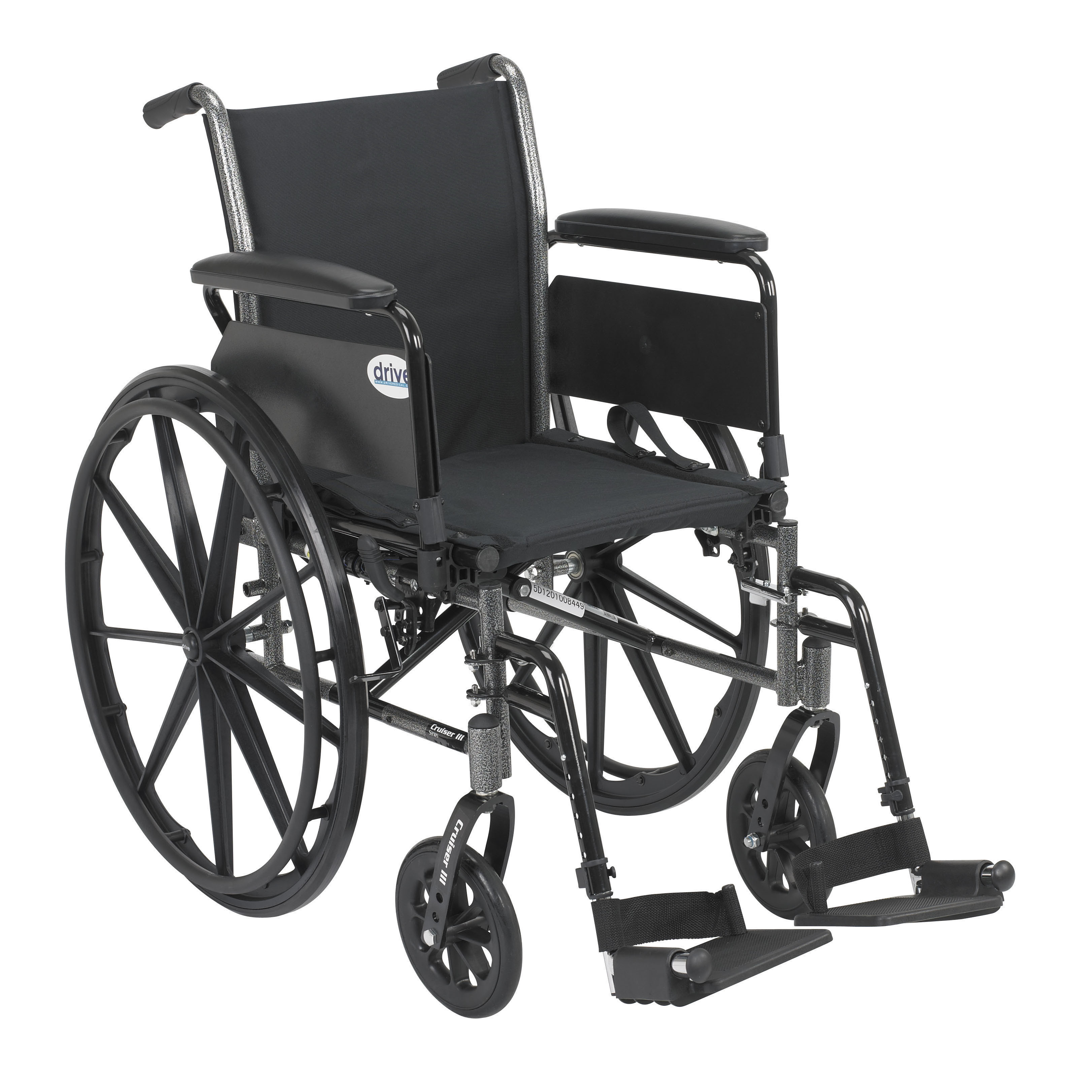 Drive Medical Cruiser III Light Weight Wheelchair with Flip Back Removable Full Arms, Swing away Footrests