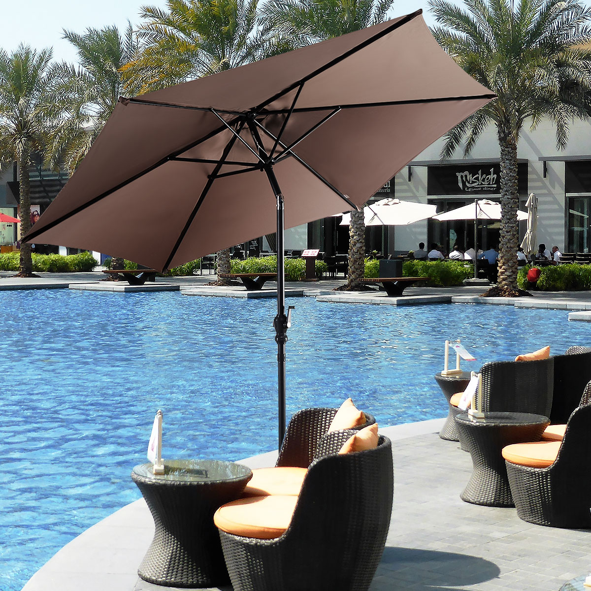 Outdoor Patio Beach Umbrella Market Table Sun Shade Crank Tilting UV Protection