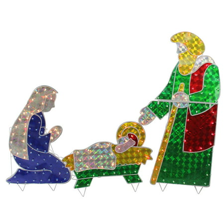 Outdoor Nativity Sets Lighted (3-Piece Holographic Lighted Christmas Nativity Set Outdoor Decoration)