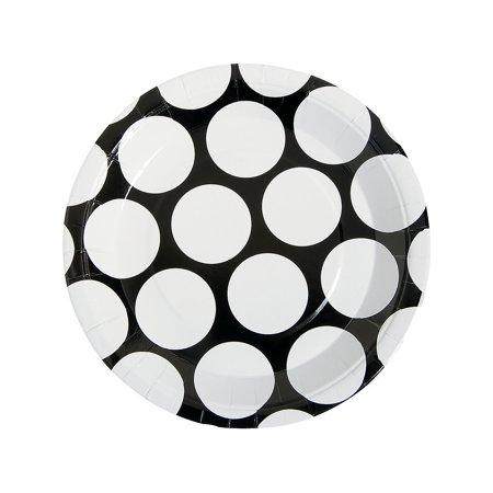 IN-13656546 Black Polka Dot Dinner Plates 8 Piece(s) 2PK](Black And White Polka Dot Plates)