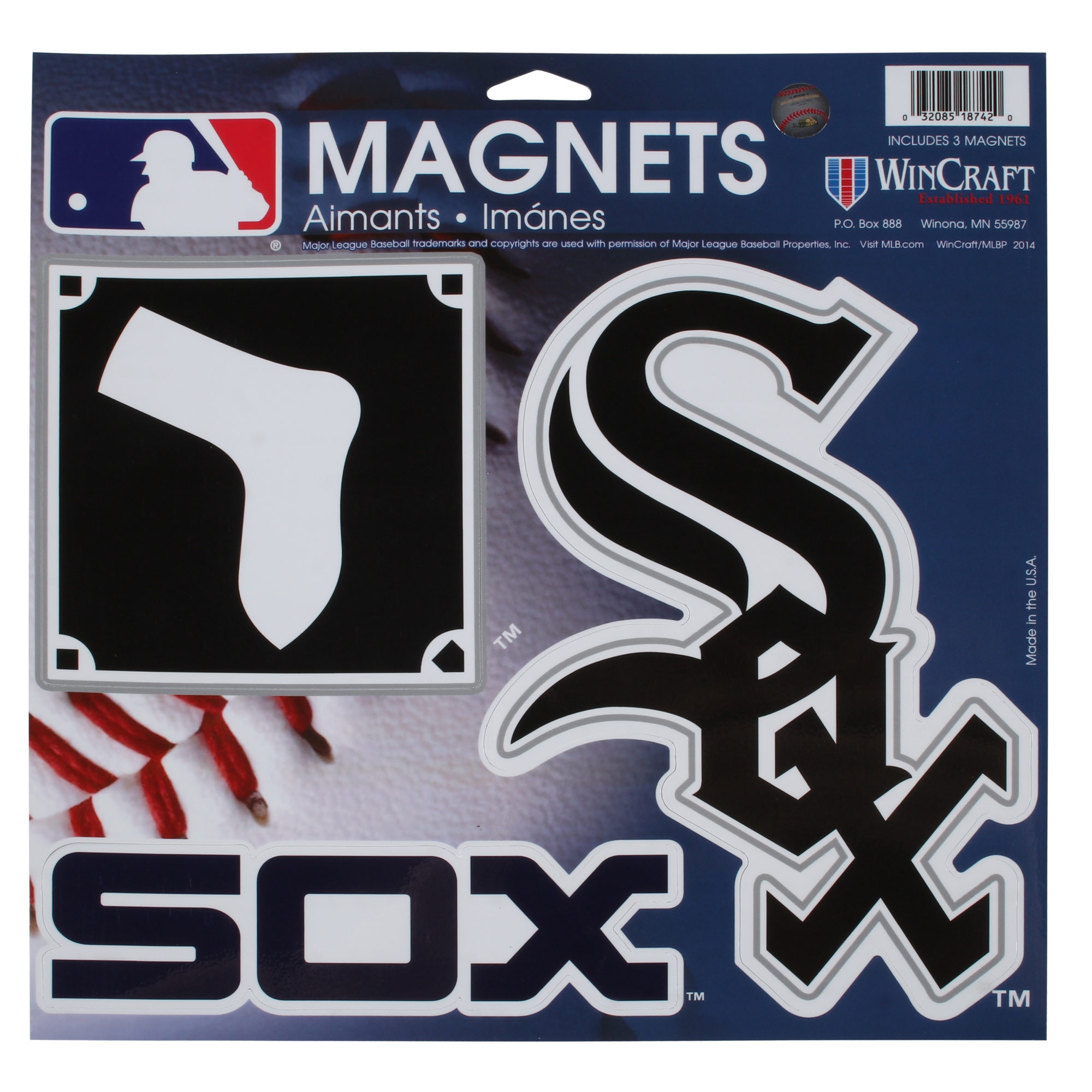"Chicago White Sox WinCraft 11"" X 11"" 3-Pack Car Magnets - No Size"