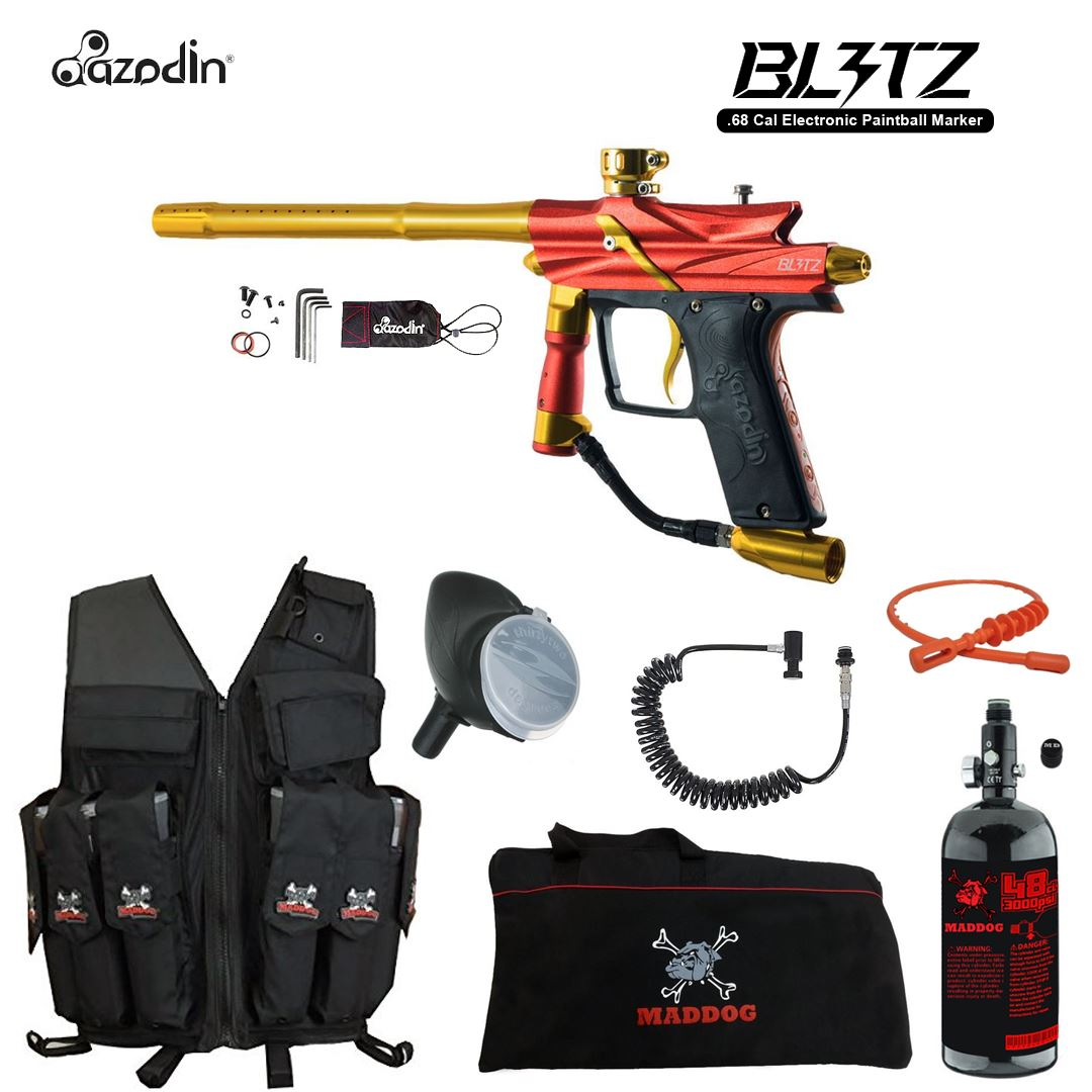 Click here to buy Azodin Blitz 3 Maddog Lieutenant HPA Attack Vest Paintball Gun Package Orange.