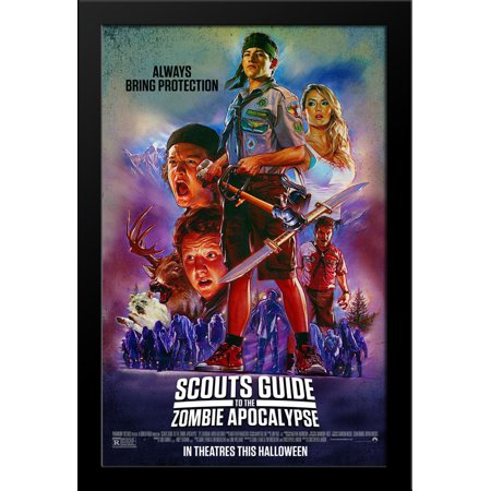 Halloween Rob Zombie Movie Poster (Scouts Guide to the Zombie Apocalypse 28x38 Large Black Wood Framed Movie Poster Art)