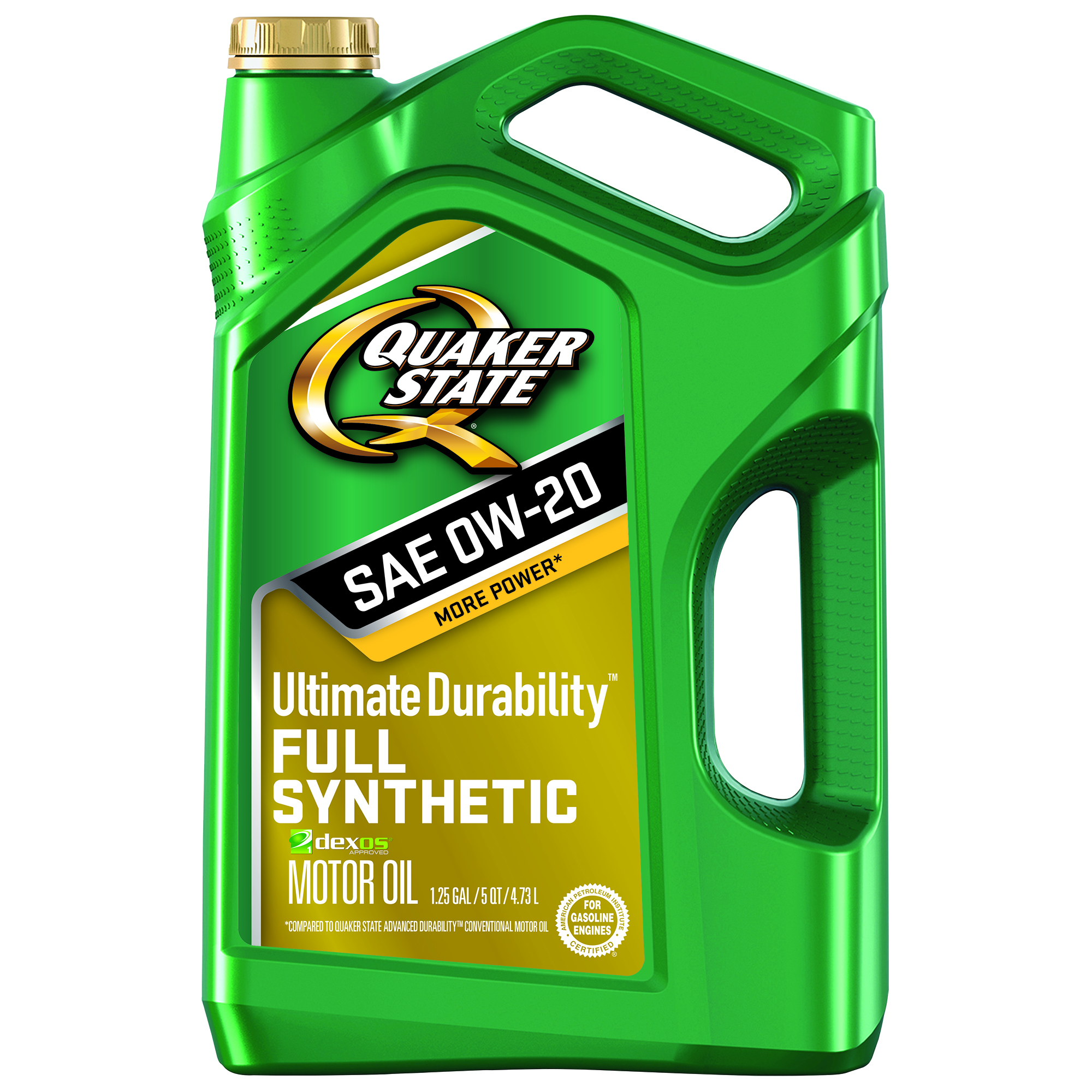 Quaker State Ultimate Durability 0W-20 Dexos Full Synthetic Motor Oil, 5 qt