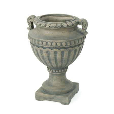 Alice Outdoor 24 Inch Cast Stone Urn, Antique Grey Finish 24' Antique Finish Surf Decor