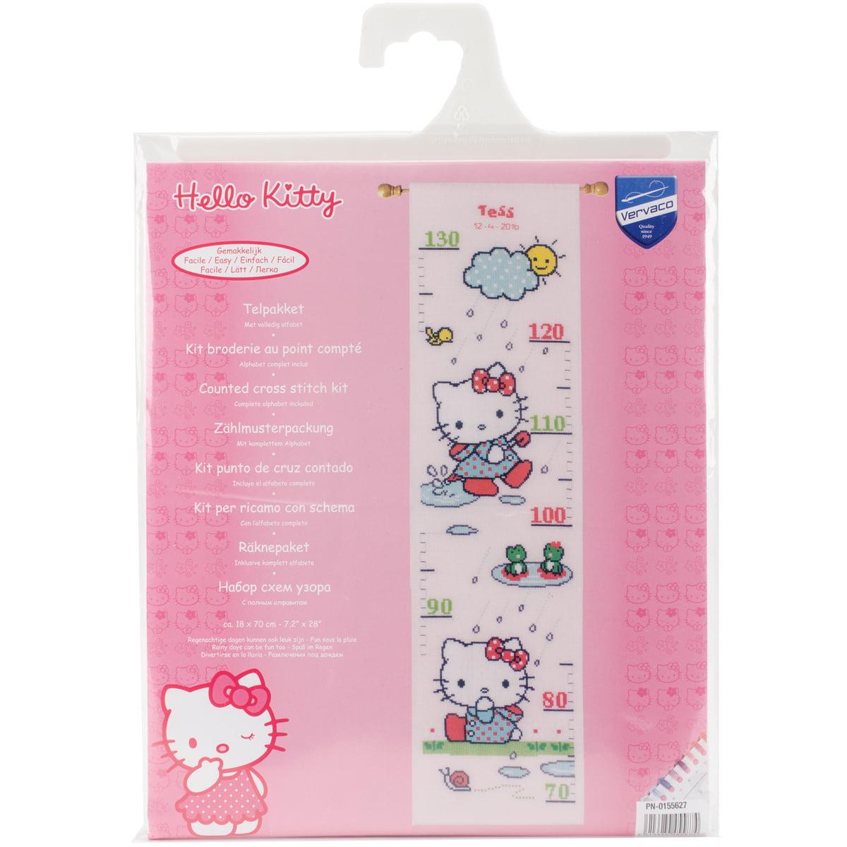 Hello Kitty Rainy Days Growth Chart On Aida Counted Cross St 72x28