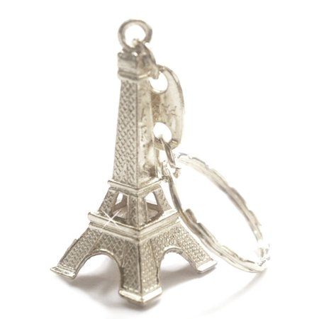 Silver Cute Adorable 3D Eiffel Tower Key Chain, French Souvenir Paris Keychain, Detailed gold metal Eiffel Tower with Paris on one side of the Tower.., By CitySouvenirs
