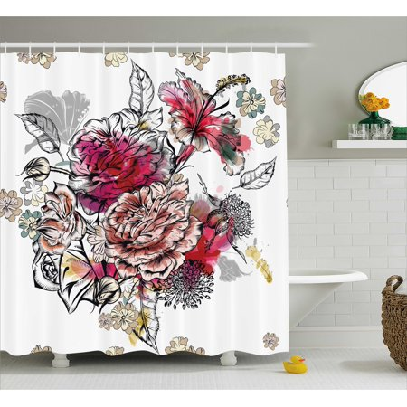 Floral Shower Curtain, Romantic Rose Petals Bouquet Bridal Wedding Themed Nostalgic Blooms in Mixed Colors, Fabric Bathroom Set with Hooks, 69W X 84L Inches Extra Long, Multicolor, by Ambesonne - Wedding Theme Colors