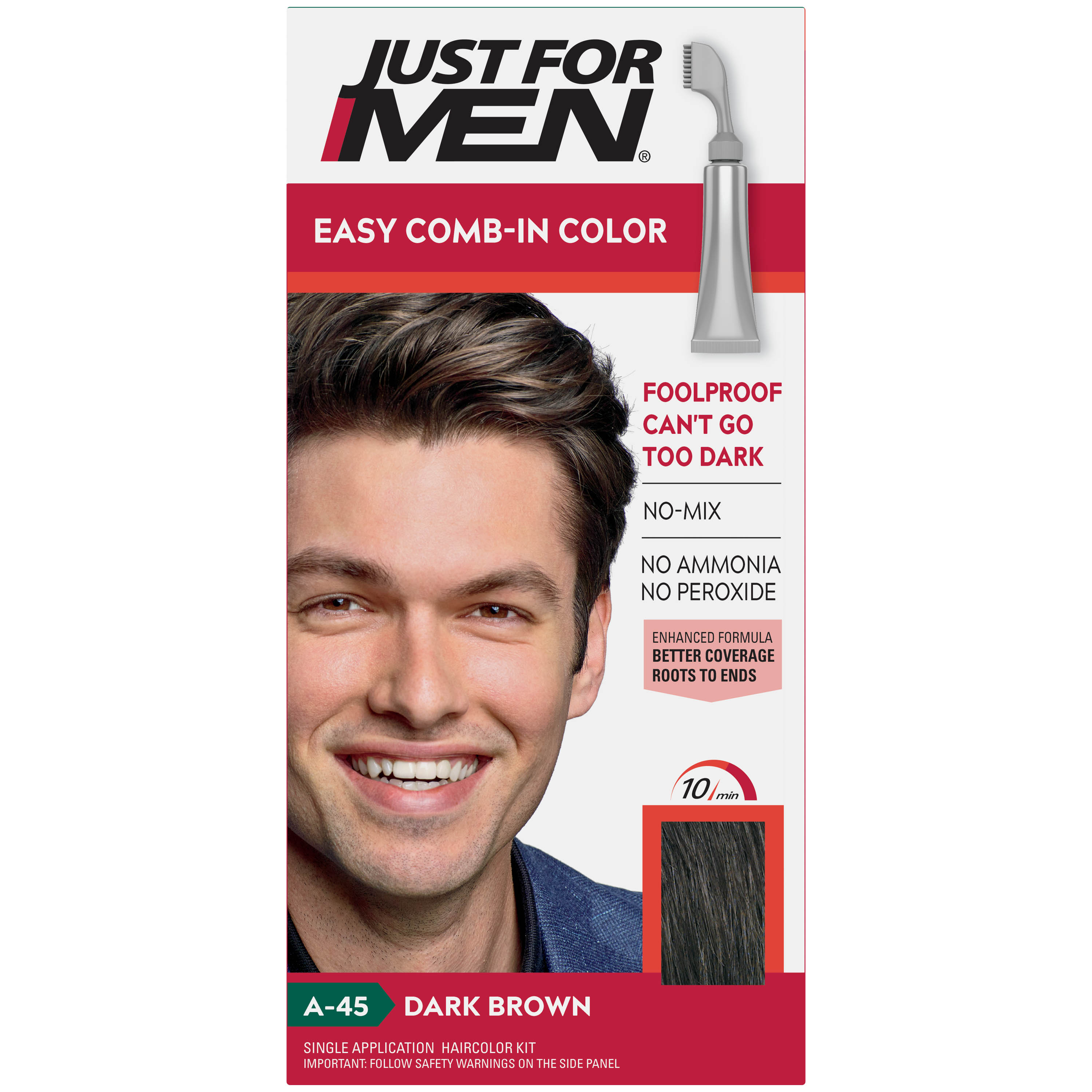 Just For Men Easy Comb In Color Gray Hair Coloring For Men With Comb Applicator Dark Brown A 45 Walmart Com Walmart Com