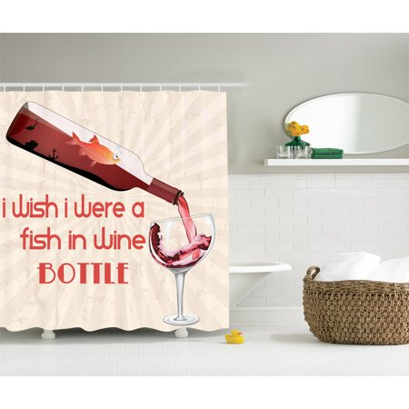 Funny Quotes Red Wine Bottle Glass Gold Fish Polyester Fabric Shower Curtain Set