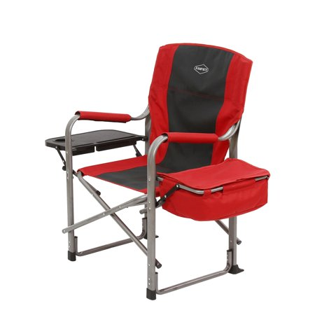 Kamp-Rite Outdoor Camp Folding Director's Chair with Side Table & Cooler, Red - Cheap Directors Chairs