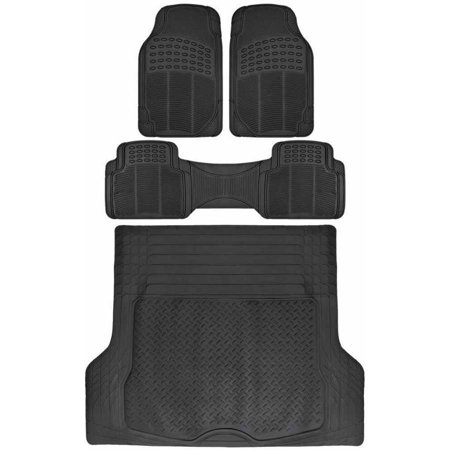 BDK Car Floor Rubber Mats with Cargo Trunk Floor Mats, All Weather Trimmable Liner, 3 Colors