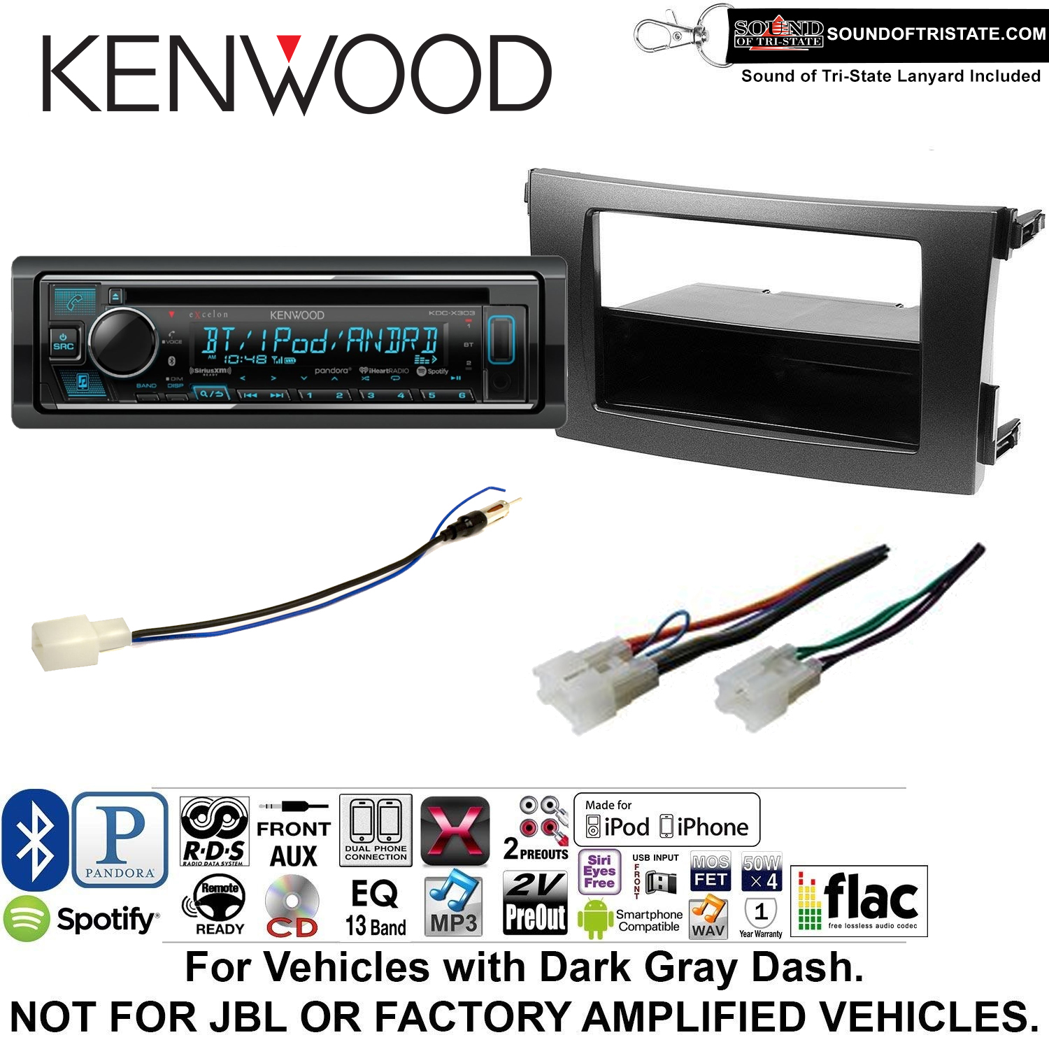 Kenwood KDCX303 Double Din Radio Install Kit with Bluetooth, CD Player, USB/AUX Fits 2009-2013 Non Amplified Toyota Corolla (Dark Gray) and a SOTS lanyard included