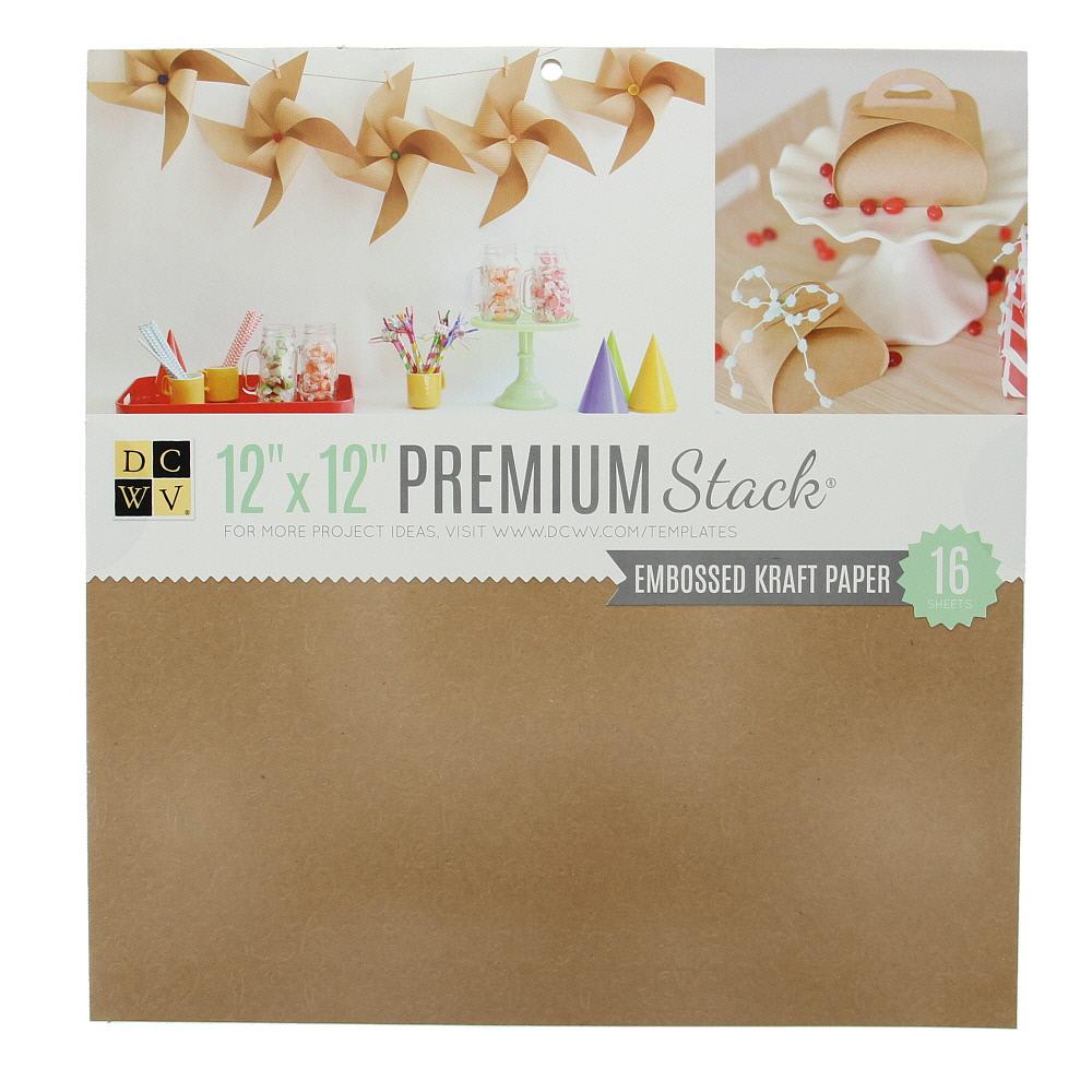 "American Crafts DCWV 12"" x 12"" Premium Cardstock Stack - Embossed Kraft Paper - 16 Sheets"