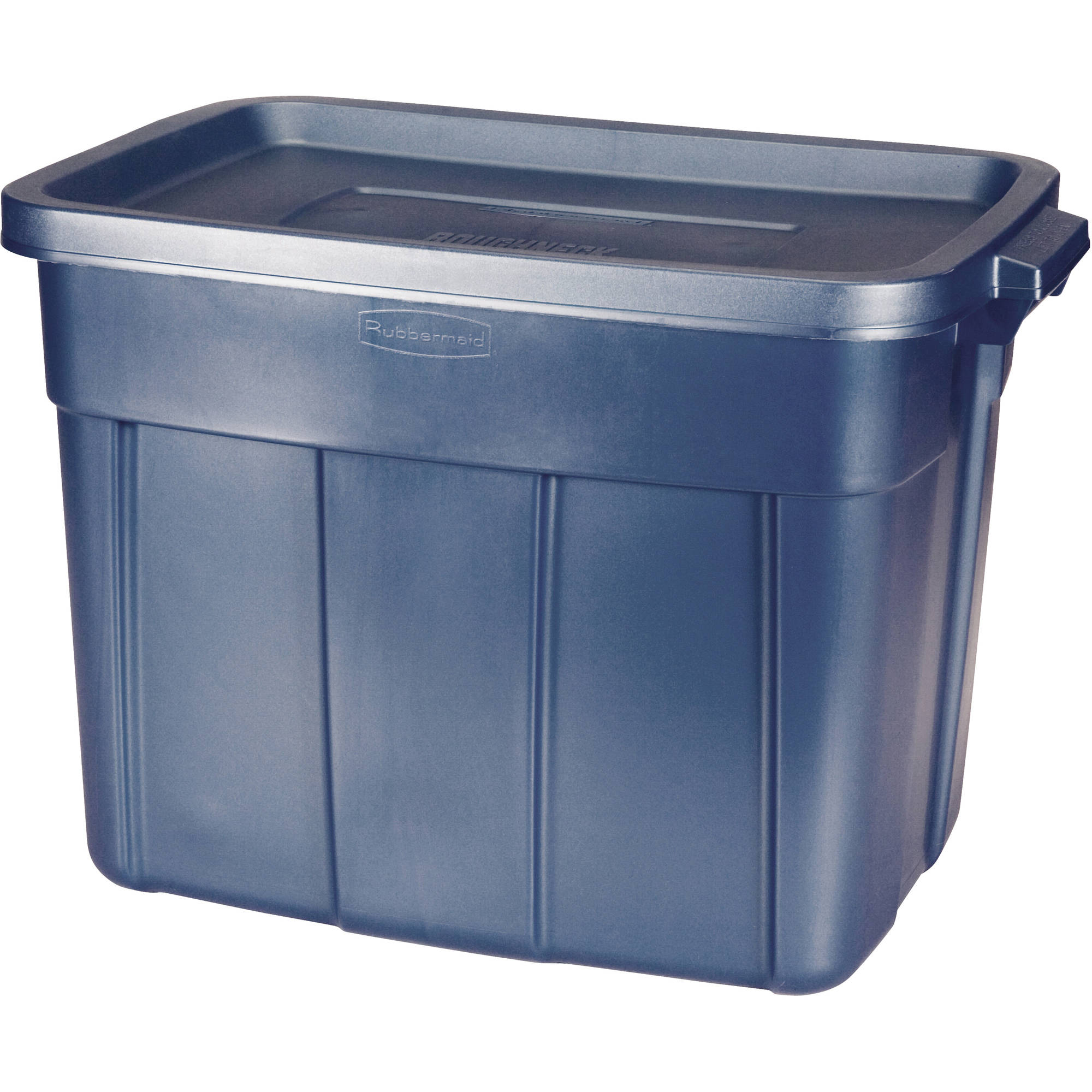 Rubbermaid Roughneck Storage Box, 18 gal, Dark Indigo Metallic, Set of 12