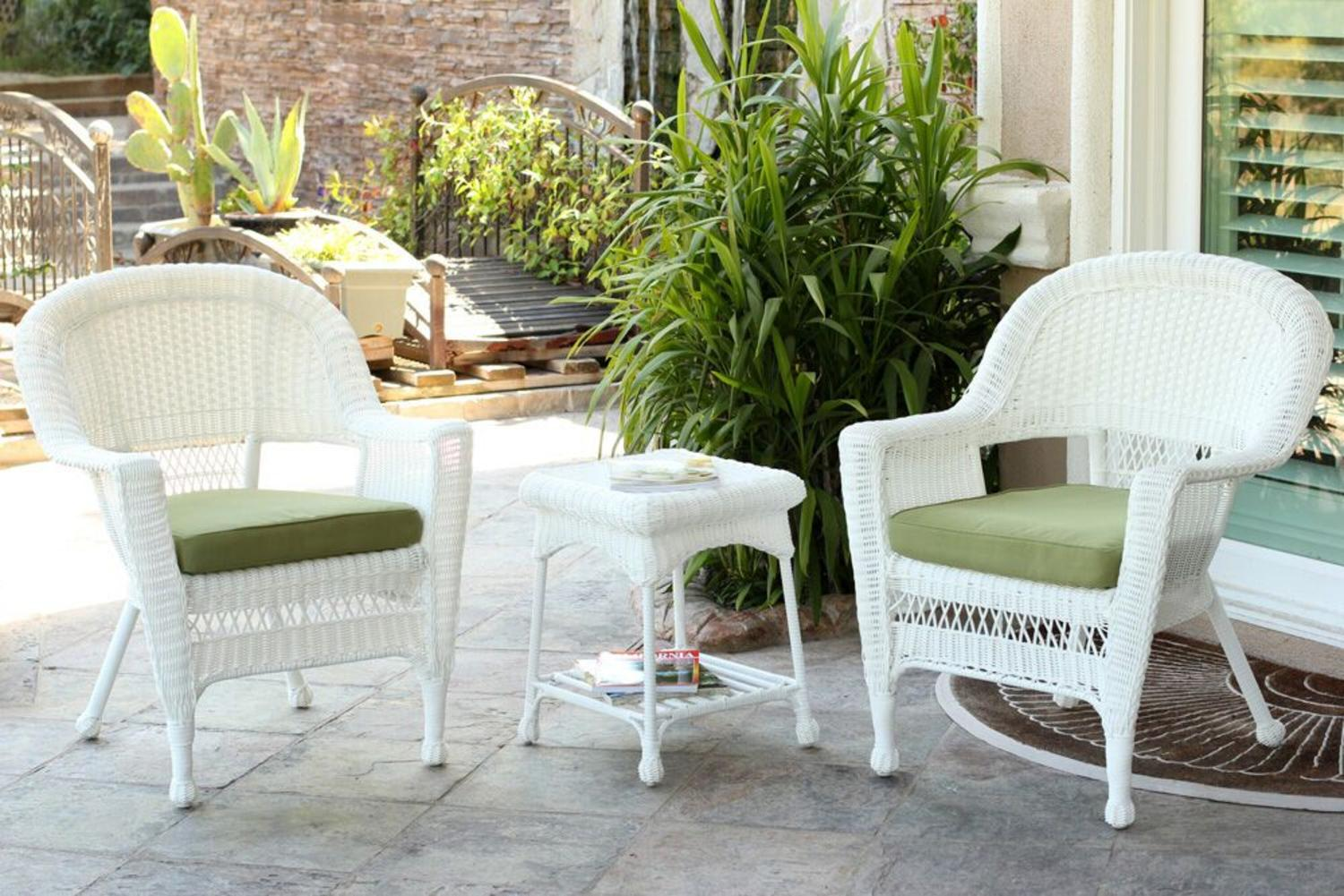 3 Piece White Resin Wicker Patio Chairs And End Table Furniture Set   Green  Cushions