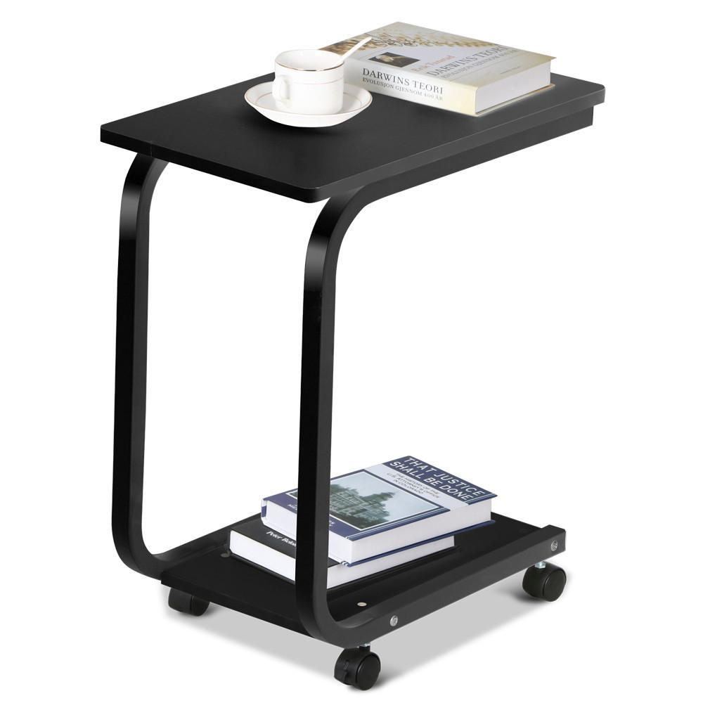 Yaheetech Living Room 2 Tier Black Sofa Side End Snack Table Tray Coffee  Tables With Wheels   Walmart.com