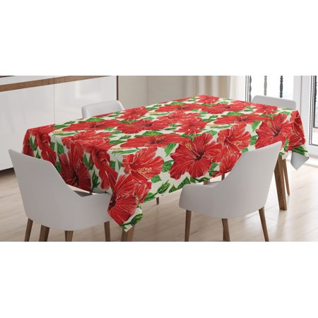 Hawaii Tablecloth, Botanic Inspirations Floral Bouquet Hand Drawn Red Hibiscuses Retro Theme, Rectangular Table Cover for Dining Room Kitchen, 60 X 84 Inches, Beige Fern Green Red, by Ambesonne