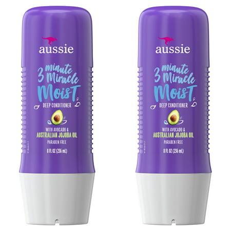 Aussie Miracle Moist with Avocado & Jojoba Oil, Paraben Free 3 Minute Miracle Conditioner, 8.0 fl oz Twin Pack