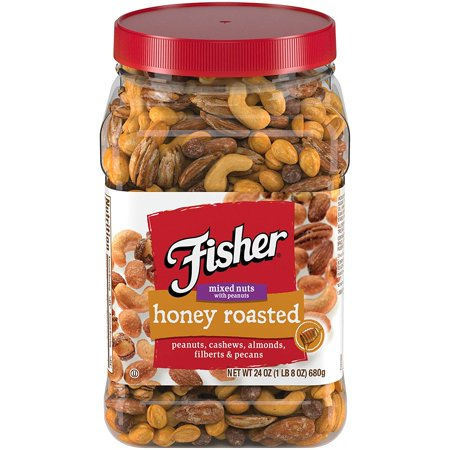 Fisher Snack Honey Roast Mixed Nuts, 24 oz Canister (Halloween Snack Mix Without Nuts)