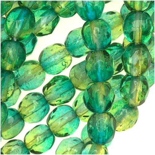 Czech Fire Polished Glass Two Toned Beads 4mm Round Green Yellow (50)