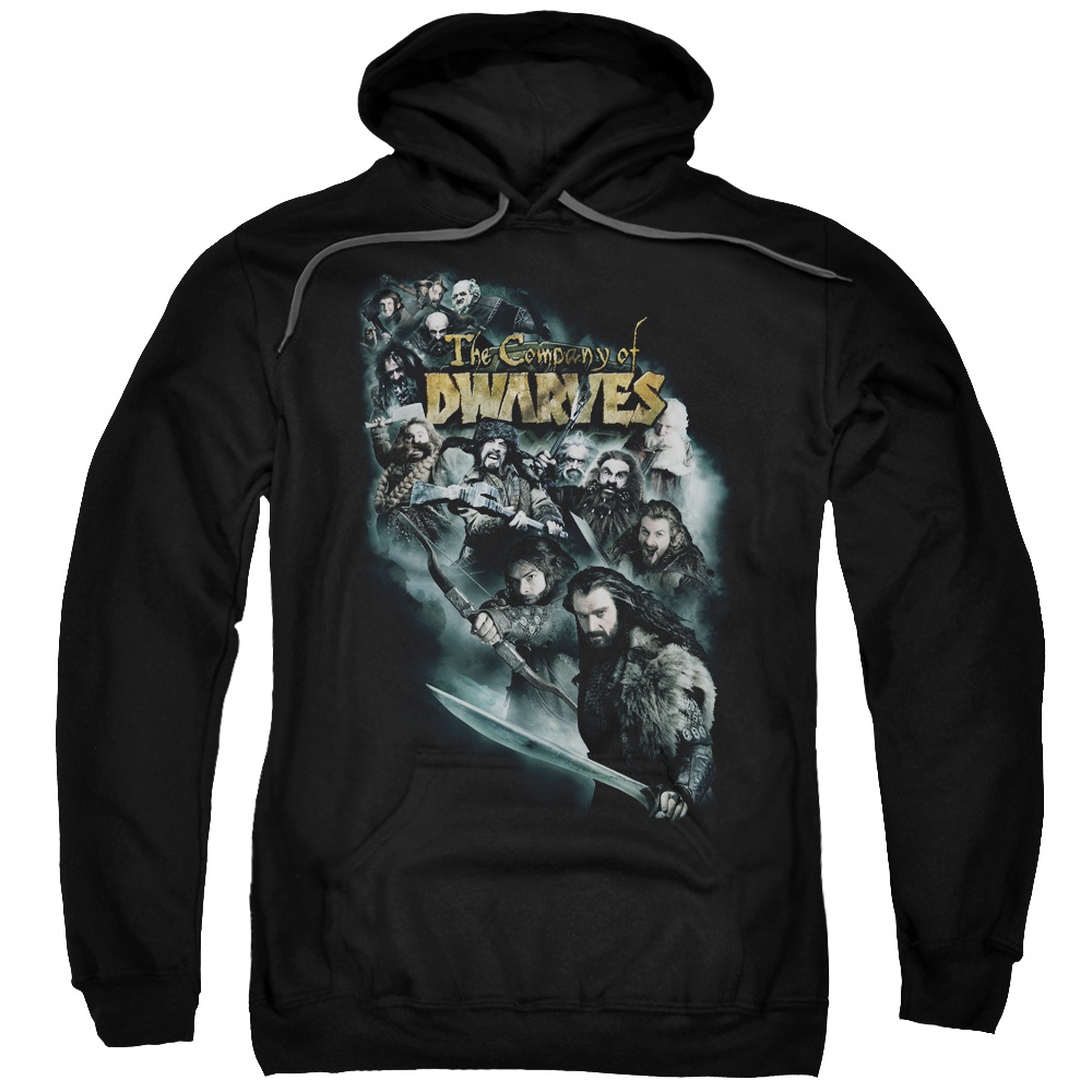 THE HOBBIT/COMPANY OF DWARVES-ADULT PULL-OVER HOODIE-BLACK-XL