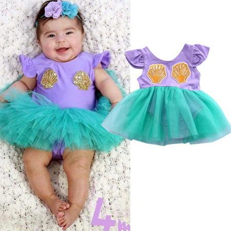 Top Newborn Baby Girls Mermaid Romper Summer TuTu Dress Skirt One Piece Jumpsuit