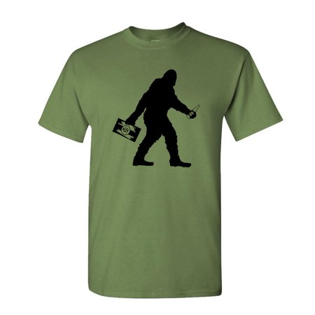 SASQUATCH BIGFOOT WITH BEER - squatchin funny - Mens Cotton T-Shirt, Army, Small](Army Ranger Shirt)