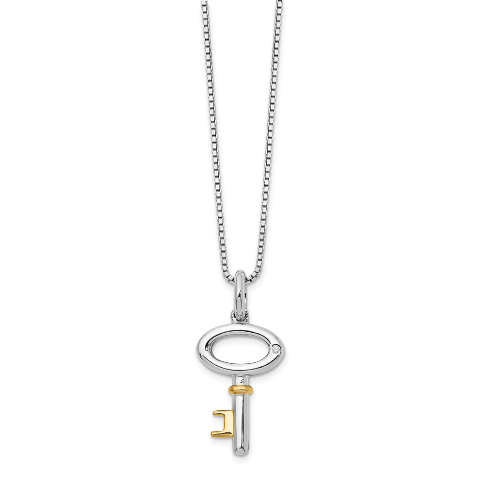 Diamond Cross Pendant Necklace Charm Chain Solid 925 Sterling Silver .01ct