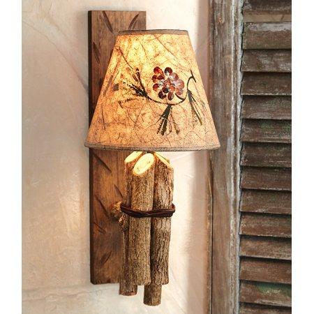 (Twig Rustic Wall Lamp w/ Pinecone Shade - Rustic Lighting Fixtures)