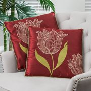 Christopher Knight Home 18-inch Red Tulip Pillows (Set of 2) by