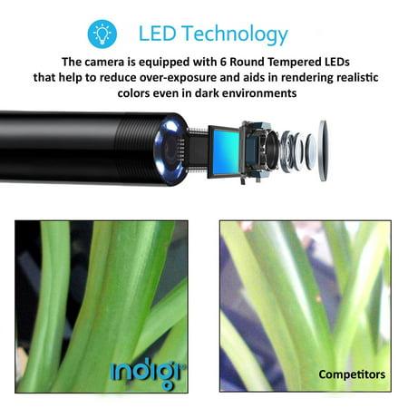 Indigi® Wireless WiFi Enabled Snake Camera [ 1M Length - iOS & Android - Waterproof - 8x Adjustable LEDs] - image 4 de 5