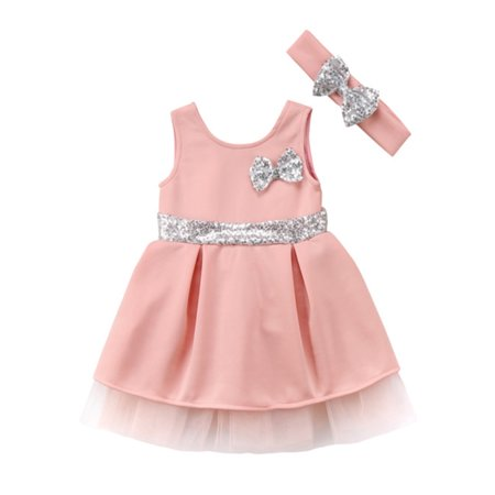 stylesilove Baby Toddler Girl Sleeveless Sequin Bowknot Princess Dress With Headband 2 Pcs Set (120/3-4 Years, Pink)](Dress Up Clothes For 2 Year Old)