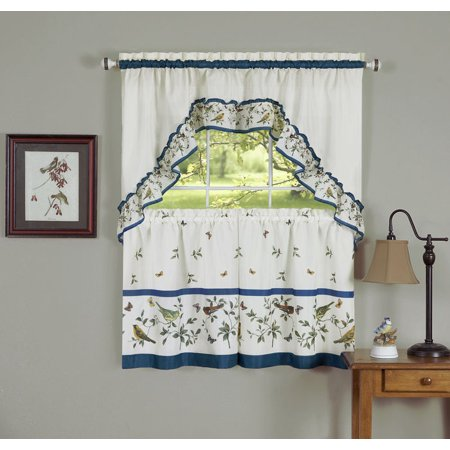 Love Birds Printed Tier and Swag Set - 57x36 Tier Pair/57x30 Swag - Blue - image 1 of 1