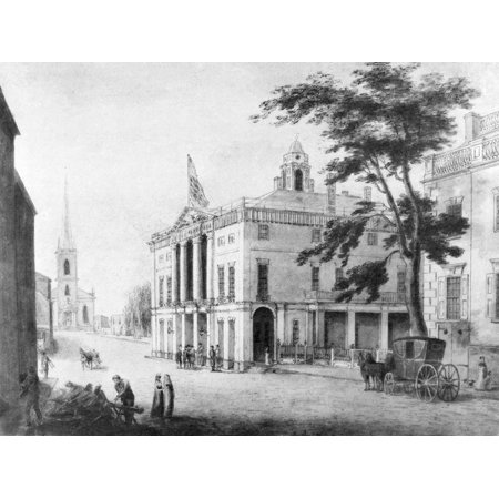 New York Old City Hall Nold City Hall  Federal Hall  On Wall Street New York Lithograph 19Th Century After A Drawing Of 1797 Rolled Canvas Art     18 X 24