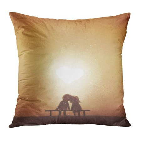 ECCOT Romantic Digital Painting of Love Couple on Bench Watching Heart Shaped Sunset Watercolor Sweet Together PillowCase Pillow Cover 20x20 inch