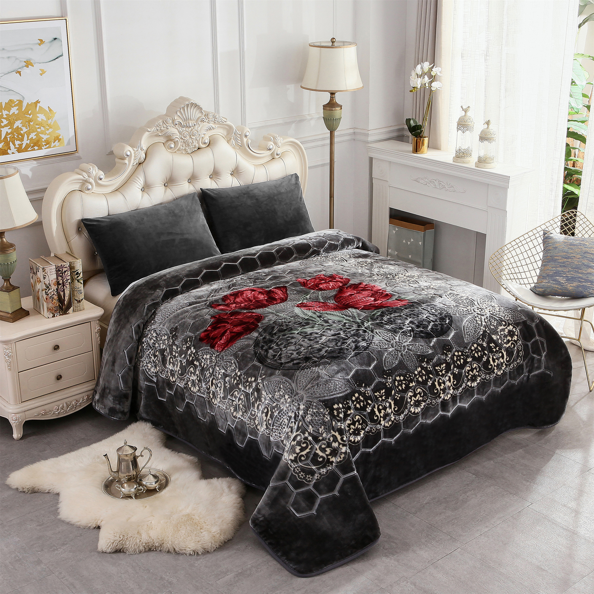 blanket fleece thick fuzzy plush soft bed printed king micro warm fur ultra heavy pattern premium jml walmart korean luxurious