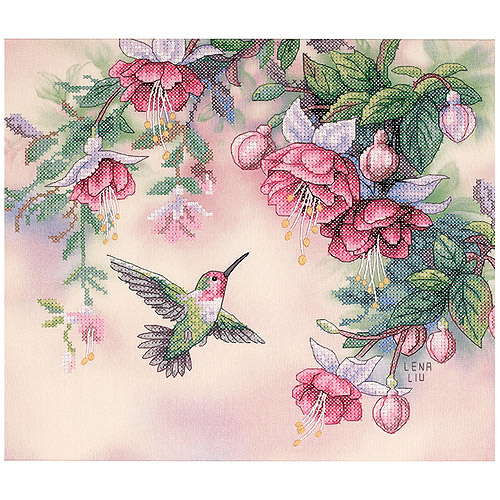 "Dimensions ""Hummingbird & Fuchsias"" Stamped Cross Stitch Kit, 14"" x 12"""