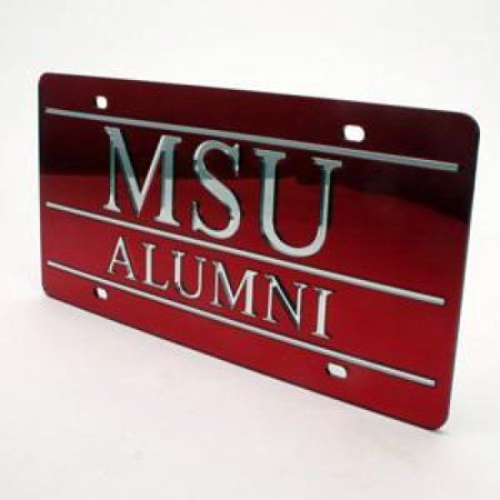 Mississippi State University Alumni - Mississippi State Bulldogs Alumni Inlaid Acrylic License Plate - Red Mirror Background
