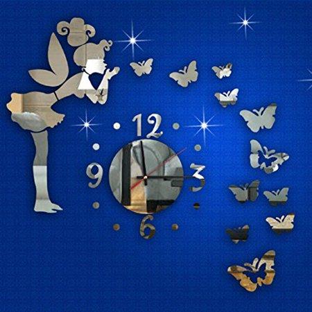 Ikevan 1Set Acrylic Art 3D Mirror Wall Stickers Fashion Modern Style Butterfly Fairy DIY Mirror Wall Clock Wall Sticker Home Decor