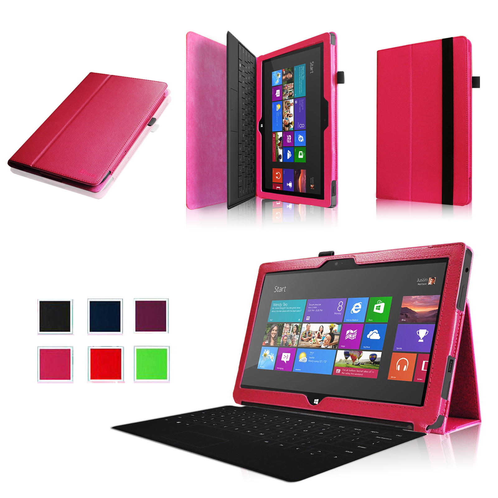 Fintie Microsoft Surface RT / Surface 2 10.6 inch Tablet Folio Case - Slim Fit PU Leather Stand Cover, Magenta