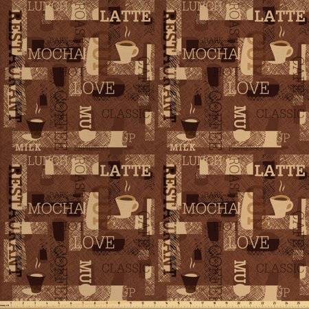 Coffee Fabric by The Yard, Cafeteria Pattern with Hot Mocha Latte Milk Love Typography on Scribble Backdrop, Decorative Fabric for Upholstery and Home Accents, by Ambesonne ()