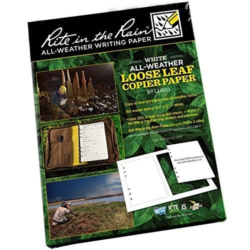 Rite In The Rain Copier Paper - Loose Leaf - White - 150 Sh (300 Forms) #LL8511