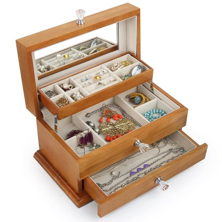Real Natural Hardwood Wooden Jewelry Box (Heartwood Jewelry Boxes)