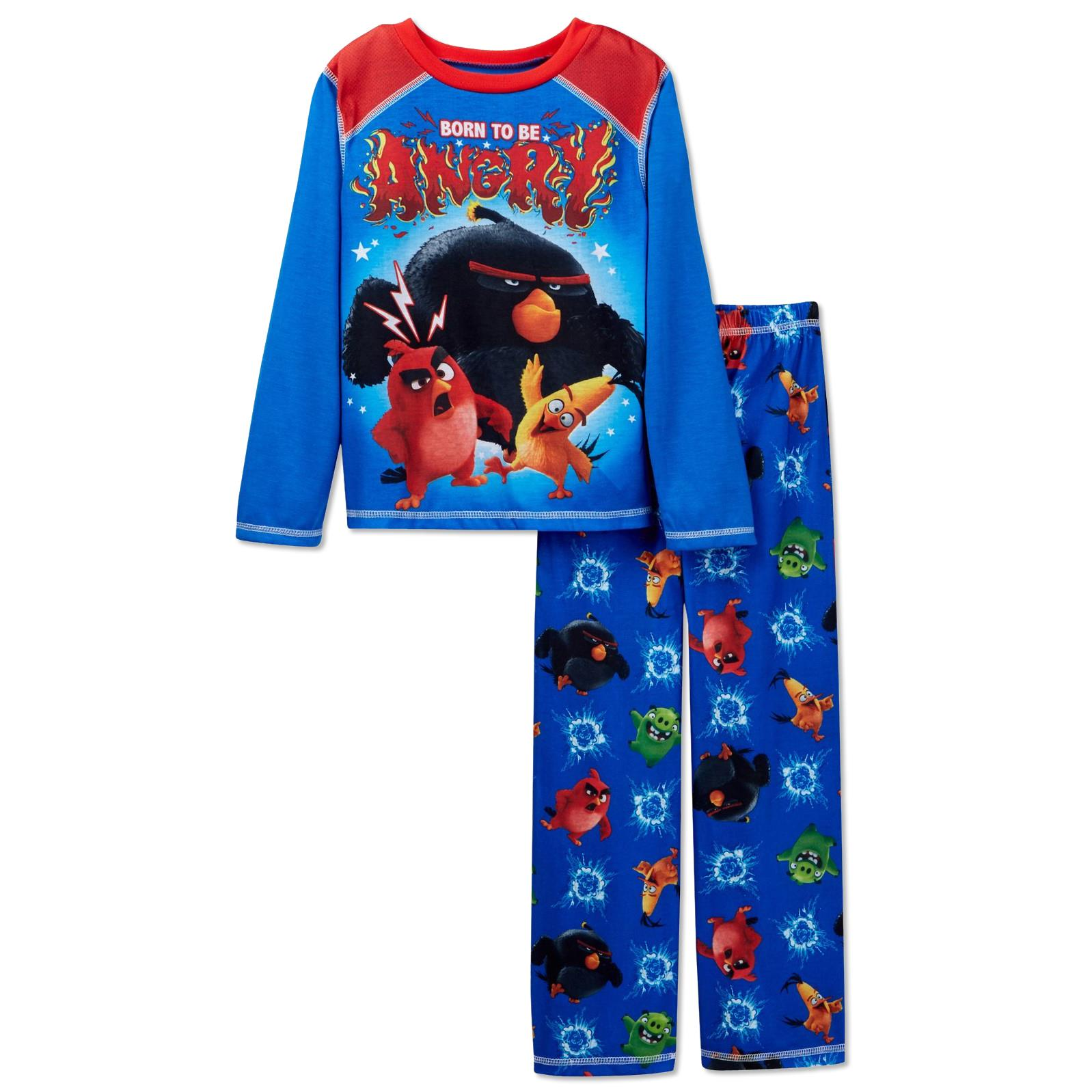 "Angry Birds Boys' ""Born to Be Angry"" 2 Piece Fleece Pajamas, Sizes 4-12"